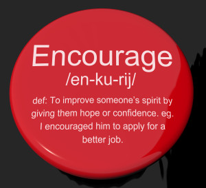 Encourage Definition Button Showing Motivation Inspiration And Reassurance